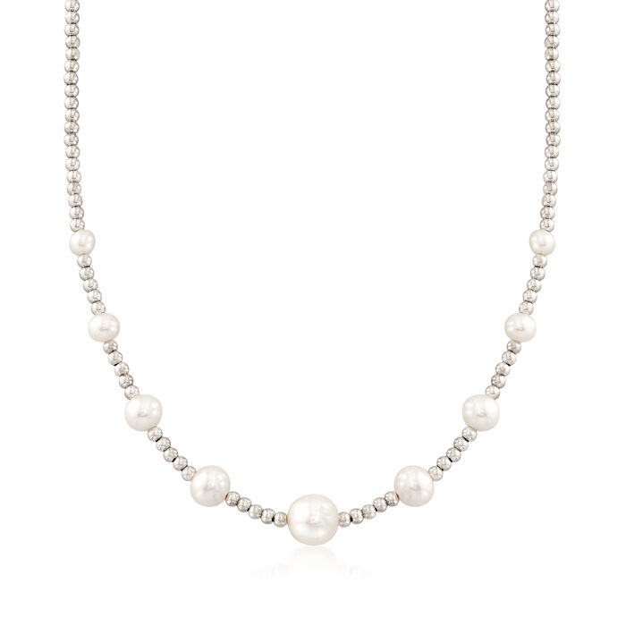 5-10.5mm Graduated Cultured Pearl and Sterling Silver Bead Necklace, , default