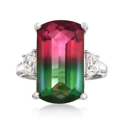 9.00 Carat Watermelon Mystic Quartz and .60 ct. t.w. Rock Crystal Ring in Sterling Silver
