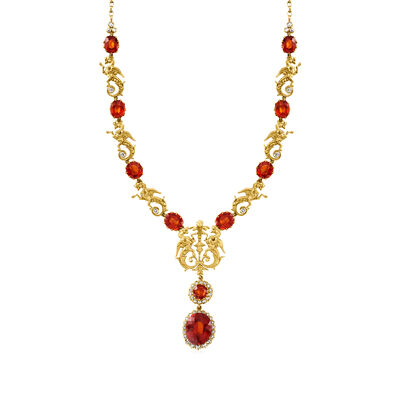 C. 1950 Vintage 53.00 ct. t.w. Orange Garnet and 3.00 ct. t.w. Diamond Dragon Necklace in 18kt Yellow Gold