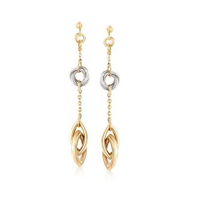 Italian 14kt Two-Tone Gold Interlocking Link Drop Earrings, , default