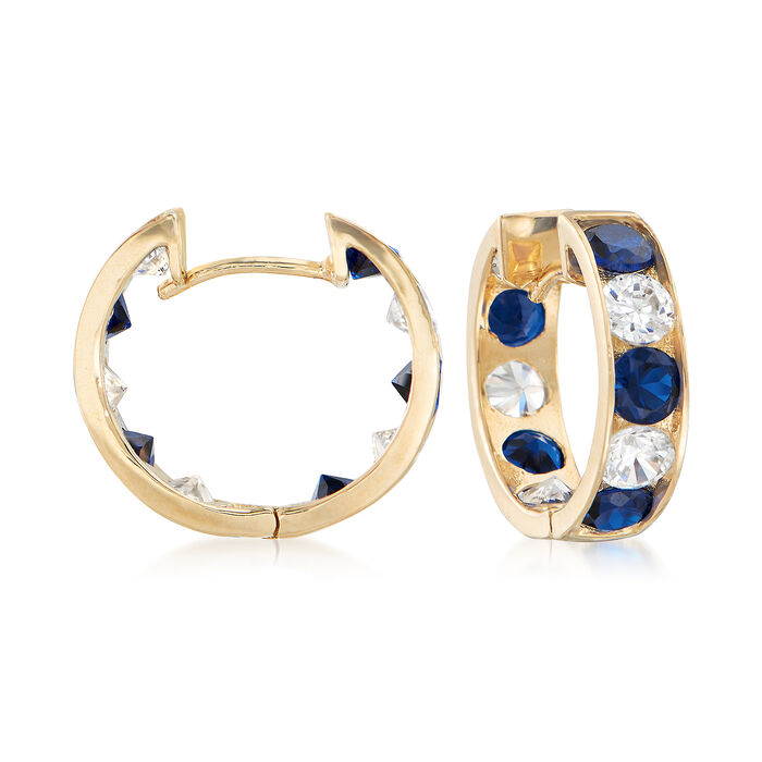 """Simulated Sapphire and 1.00 ct. t.w. CZ Hoop Earrings in 14kt Yellow Gold. 3/8"""", , default"""