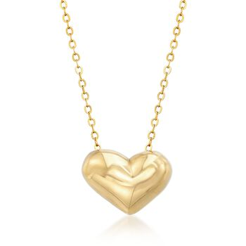 "Italian 18kt Yellow Gold Heart Necklace. 18"", , default"