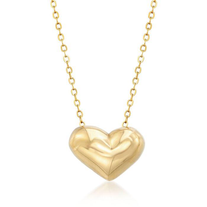 Italian 18kt Yellow Gold Heart Necklace, , default
