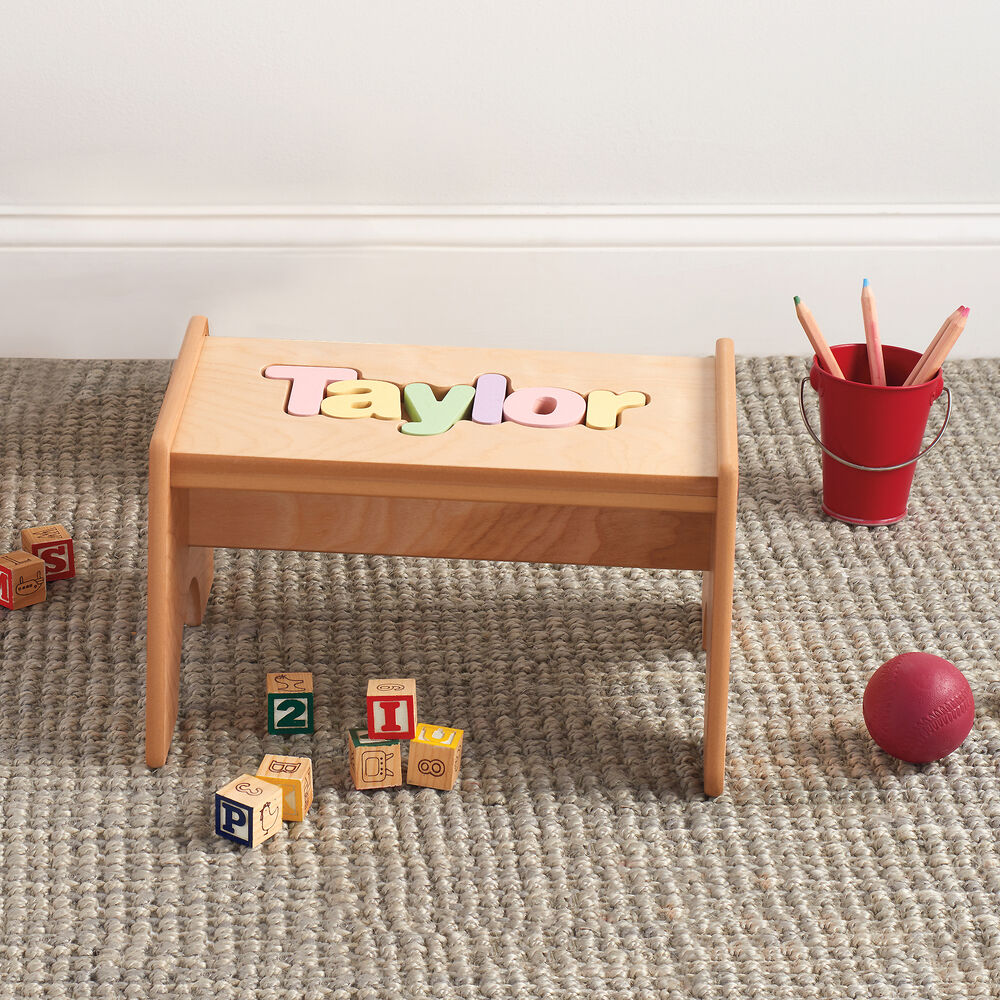 Stupendous Childs Maple Finished Personalized Name Puzzle Stool Pastel Colors Ocoug Best Dining Table And Chair Ideas Images Ocougorg
