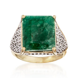 8.00 Carat Emerald and .40 ct. t.w. White Topaz Ring in 14kt Gold Over Sterling, , default