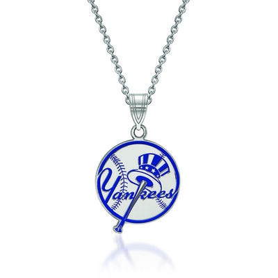 Sterling Silver MLB New York Yankees Enamel Disc Pendant Necklace. 18""