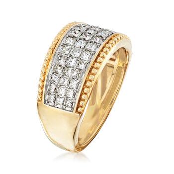 1.00 ct. t.w. Diamond Beaded-Edge Ring in 14kt Yellow Gold