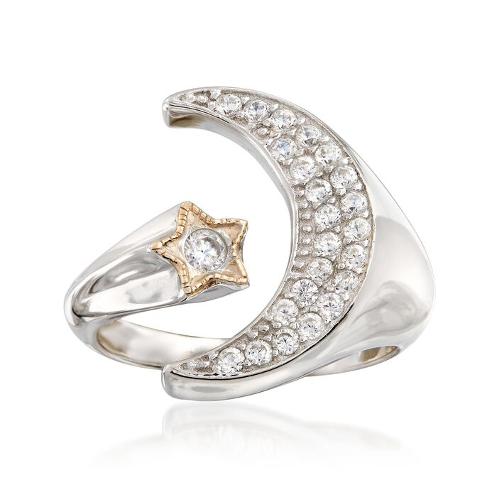 .35 ct. t.w. CZ Moon and Star Cuff Ring in 14kt Yellow Gold and Sterling Silver, , default