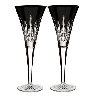 "Waterford Crystal ""Black"" Set of 2 Lismore Flute Glasses"