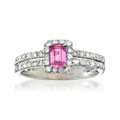C. 1990 Vintage .50 ct. t.w. Diamond and .40 Carat Pink Sapphire Ring in 14kt White Gold, , default