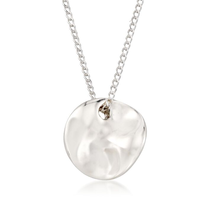 """Zina Sterling Silver """"Contemporary"""" Mini Mobius Disc Necklace"""