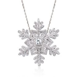 ".50 Carat White Topaz and .25 ct. t.w. Diamond Snowflake Pin Pendant Necklace in Sterling Silver. 18"", , default"
