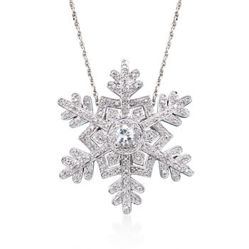 """.50 Carat White Topaz and .25 ct. t.w. Diamond Snowflake Pin Pendant Necklace in Sterling Silver. 18"""", , default"""