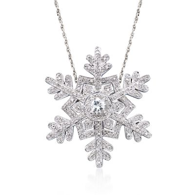 .50 Carat White Topaz and .25 ct. t.w. Diamond Snowflake Pin Pendant Necklace in Sterling Silver, , default