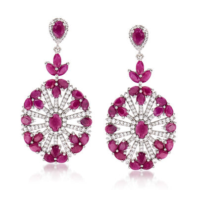 13.00 ct. t.w. Ruby and 1.40 ct. t.w. White Topaz Open-Space Drop Earrings in Sterling Silver, , default