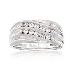 Men's .50 ct. t.w. Multi-Row Diamond Wavy Ring in 14kt White Gold, , default