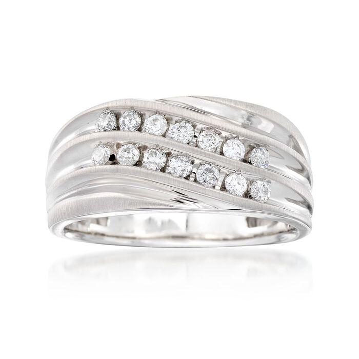 Men's .50 ct. t.w. Multi-Row Diamond Wavy Ring in 14kt White Gold, , default