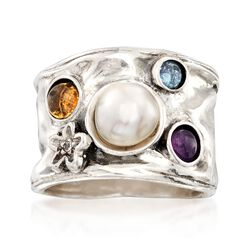 7mm Cultured Pearl and .80 ct. t.w. Multi-Stone Ring in Sterling Silver, , default