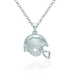 "Sterling Silver Los Angeles Chargers Football Helmet Logo Pendant Necklace. 18"", , default"
