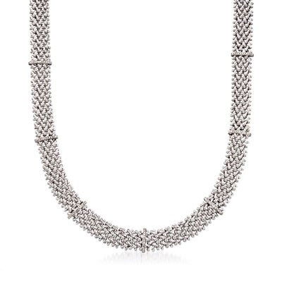 .65 ct. t.w. Diamond Riso-Link Station Necklace in Sterling Silver, , default