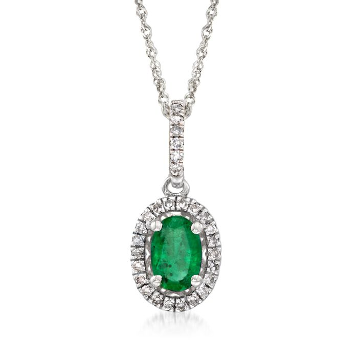 ".40 Carat Emerald and .12 ct. t.w. Diamond Pendant Necklace in 14kt White Gold. 18"", , default"