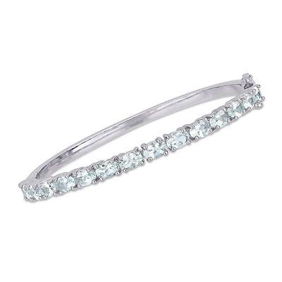 6.25 ct. t.w. Aquamarine Bangle Bracelet in Sterling Silver