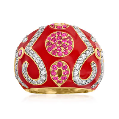 2.30 ct. t.w. White Zircon and .80 ct. t.w. Ruby Dome Ring with Red Enamel in 18kt Gold Over Sterling