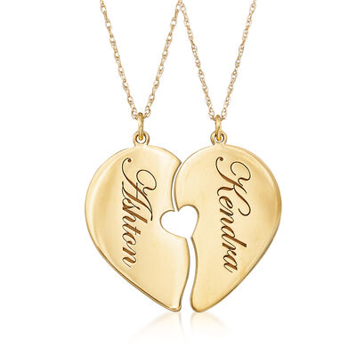 14kt Yellow Gold Couple's Jewelry Set: Personalized Heart Necklaces, , default