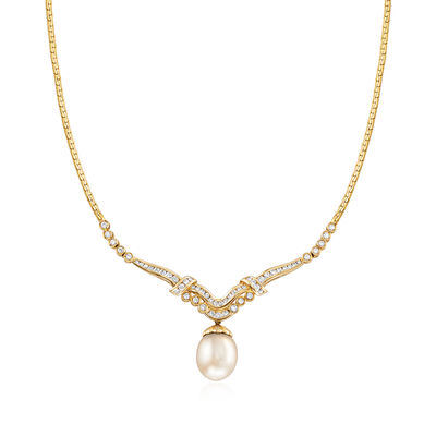 C. 1980 Vintage 15x12mm Cultured South Sea Pearl and 1.35 ct. t.w. Diamond Necklace in 18kt Yellow Gold