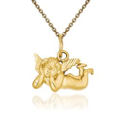 "14kt Yellow Gold Angel Pendant Necklace. 18"", , default"