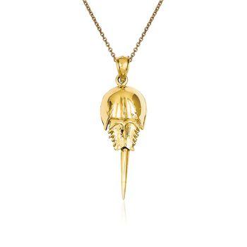 "14kt Yellow Gold Horseshoe Crab Pendant Necklace. 18"", , default"