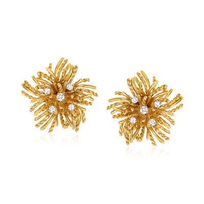 C. 1980 Vintage .50 ct. t.w. Diamond Flower Earrings in 18kt Yellow Gold