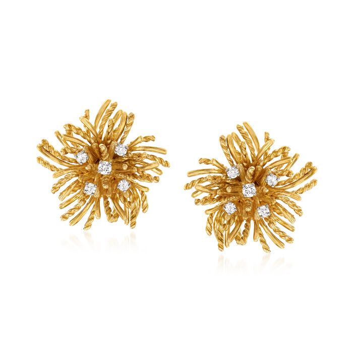 C. 1980 Vintage .50 ct. t.w. Diamond Flower Earrings in 18kt Yellow Gold