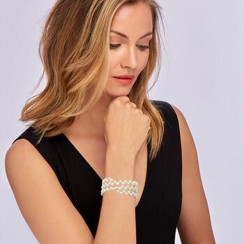 6-7mm Cultured Pearl Triple-Row Wrap Bracelet