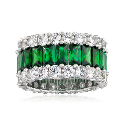 6.75 ct. t.w. Simulated Emerald and 4.40 ct. t.w. CZ Eternity Band in Sterling Silver