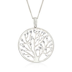 "Italian Sterling Silver Tree of Life Pendant Necklace. 18"", , default"
