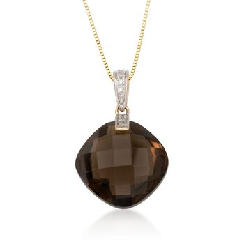 """10.90 ct. Smoky Quartz Necklace in 14kt Yellow Gold. 18"""", , default"""