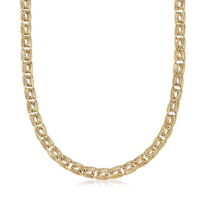 14kt Yellow Gold Triple Curb-Link Necklace