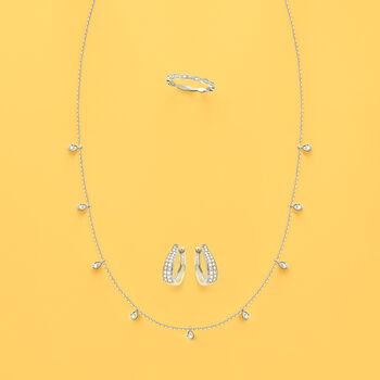 .28 ct. t.w. Diamond Station Necklace in 14kt White Gold.