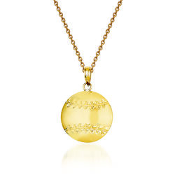 "14kt Yellow Gold Diamond-Cut Baseball Charm Necklace. 18"", , default"