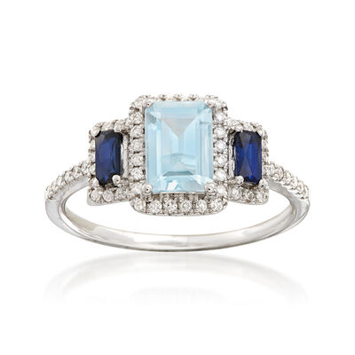 .90 Carat Aquamarine and .52 ct. t.w. Multi-Stone Ring in 14kt White Gold, , default