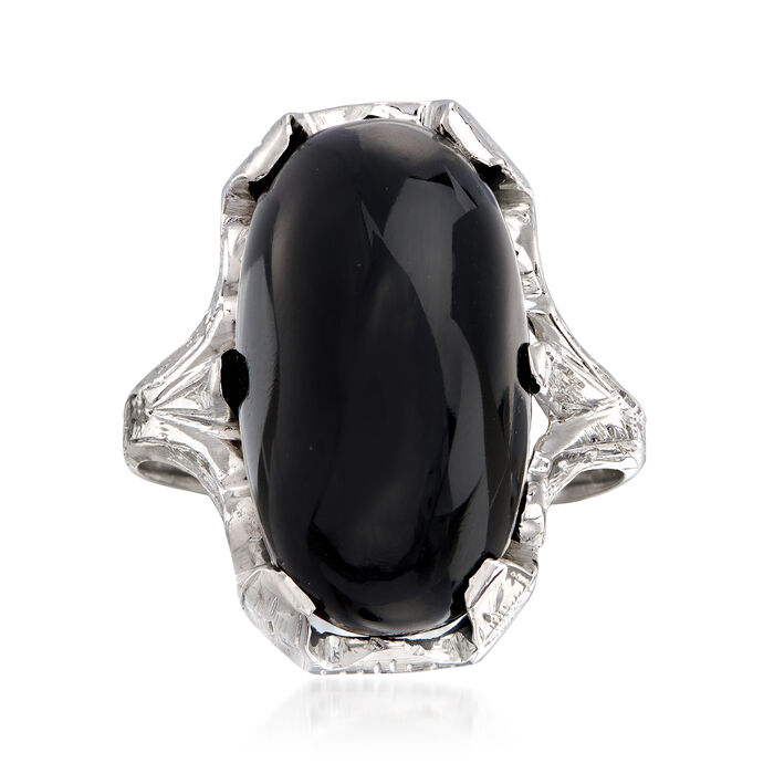 C. 1950 Vintage Oblong Cabochon Black Onyx Ring in 18kt White Gold . Size 6, , default