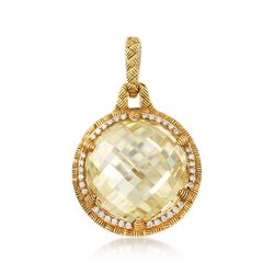 """Judith Ripka """"Sutton"""" Canary Crystal and .27 ct. t.w. Diamond Pendant in 18kt Yellow Gold, , default"""