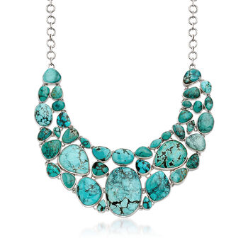 """Turquoise Bib Necklace in Sterling Silver. 18"""", , default"""