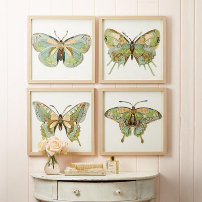 """Papillon"" Set of 4 Butterfly Paper Collage Wall Art"