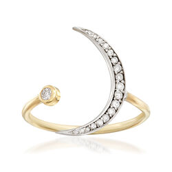 .16 ct. t.w. Diamond Crescent Moon Ring in 14kt Yellow and White Gold, , default