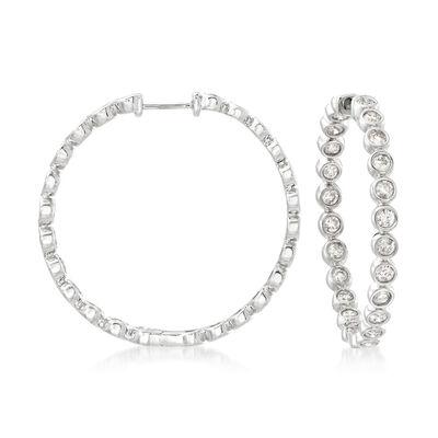 2.00 ct. t.w. Bezel-Set Diamond Inside-Outside Hoop Earrings in 14kt White Gold