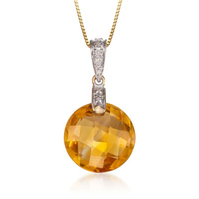 5.67 Carat Citrine Pendant Necklace with Diamond Accents in 14kt Yellow Gold, , default