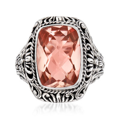 6.19 Carat Pink Quartz Balinese Ring in Sterling Silver