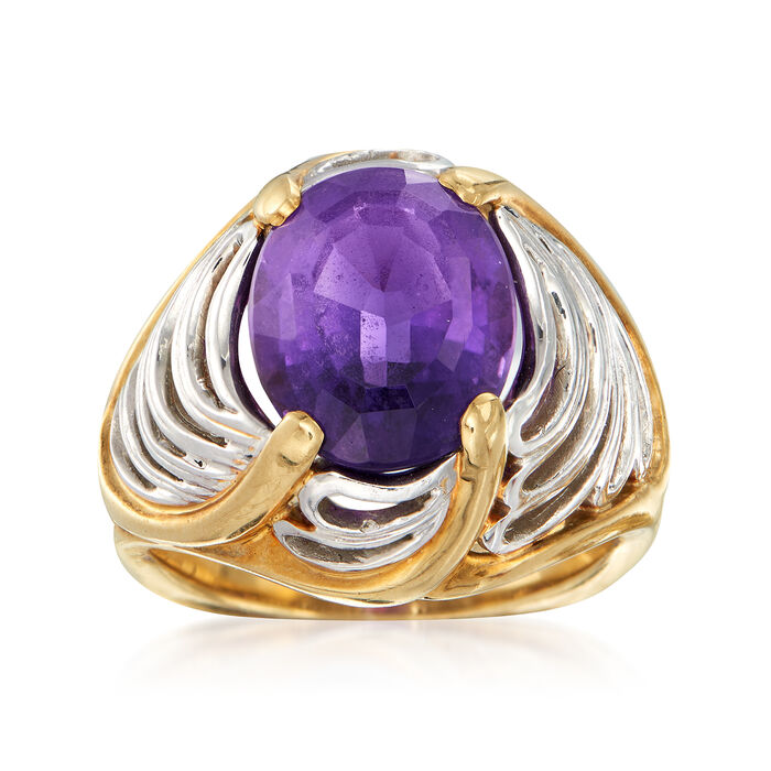 C. 1980 Vintage 3.55 Carat Amethyst Scalloped Ring in Platinum and 18kt Yellow Gold. Size 5, , default